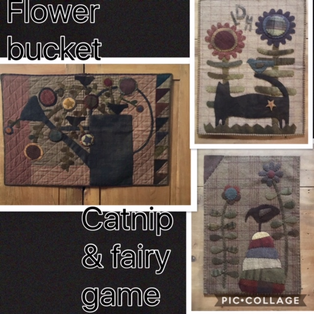 wool appliqué wall hangings and/or table rugs