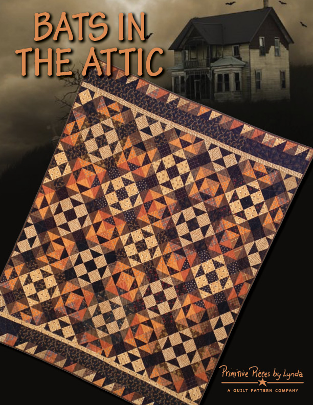 BATS IN THE ATTIC-pieced fabric, top/bottom borders only