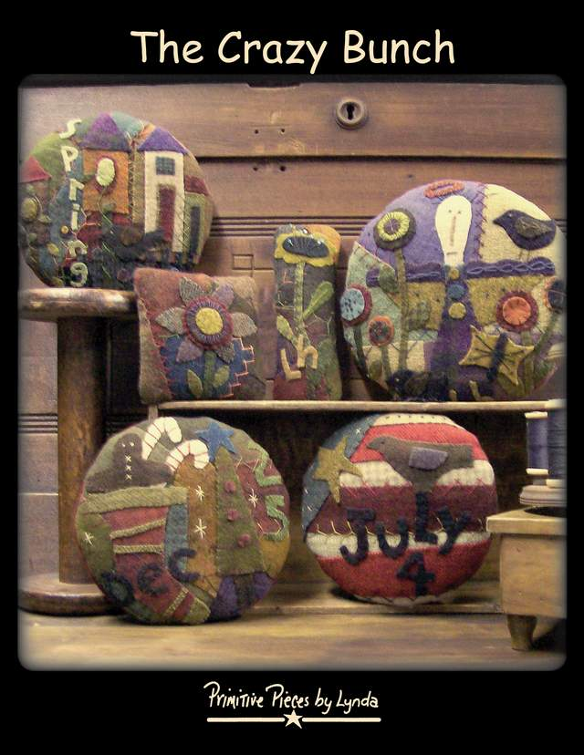 The Crazy Bunch-pattern, wool crazy pin cushions