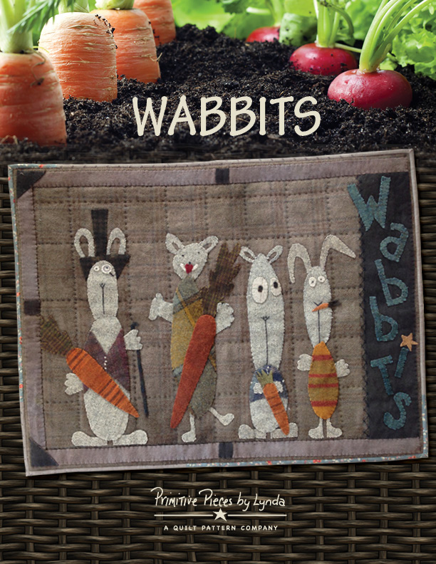 WABBITS-medium sized wallhanging, wool with fabric back
