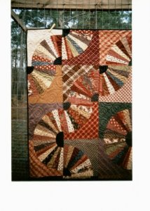 A closer version of Fanshawe Dam made by Lynn Eriquez and machine quilted by Cheryl Mills.