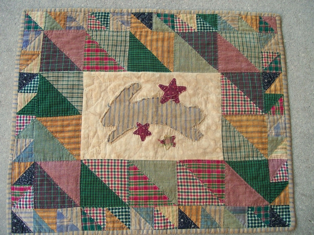 QS 09 Bunny Hop table rug-pantry, quilts for sale, bunny