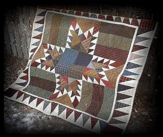 Chey from Chey's Corners made this wonderful Horse Feathers quilt to share. Chey has a website you won't want to miss checking out. She is going to be making one each of the quilts in my pattern line to sell on her site. She will be only making one and it