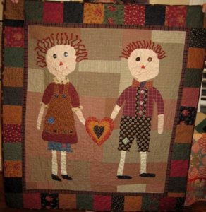 Deborah Sitkoff,my friend and owner of Fat Quarter Quilters, (http//www.fatquarterquilters.com/) sent me a picture of her Primitive Youngins quilt she just finished. Matter of fact, she called me on the telephone last night to let me know how much fun it-parlor, deborah sitkoff's, primitive youngins