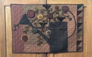 wool and fabric appliqué wall hanging and/or table rug