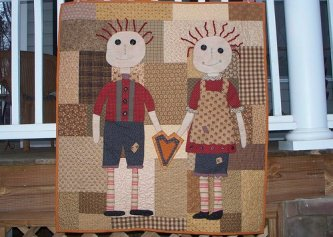 Jennifer Helms sent me her picture of the Primitive Youngins doll quilt....here's what she had to say I wanted to send you a picture of the Primitive Youngins quilt I completed for a friend. It was so much fun. As you can see it is backwards but still swe