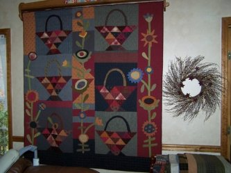 JoAnne Stanley from Tennessee sent me this picture of A Tisket A Tasket that she made. She says it hangs beautifully in her living room. Thanks JoAnne, it's wonderful!