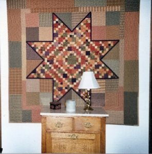 Karen Long Ball from Kentucky sent me this wonderful picture of her Moonshine quilt to share with everyone. She told me she used the Sweet Potato Pie fabric collection from Moda. She says she made it several years ago and it's still one of her favorites t