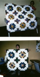 From Quiltmaker's Workshop, two Forever Friends quilts made in brights....this must have been a class taught there at the shop.