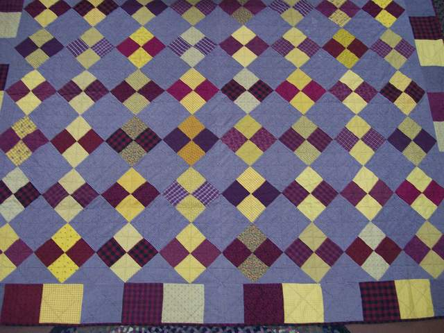 red yellow blue diamond quilt