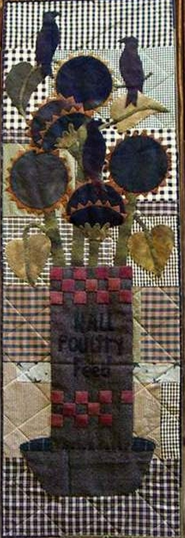 PPL076 Something to Crow About-pieced, door hanger, wool applique
