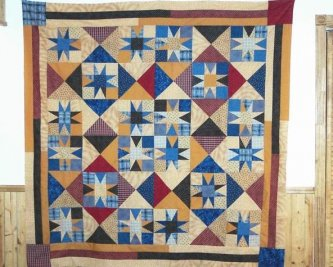 "Sue LeCavalier from Quebec, Canada, sent me this picture of her version of ""They'll be Coming Around the Mountain"" Sue told me this is her first attempt at machine pieceing a quilt together! Great Job! Thanks Sue for sharing with us."